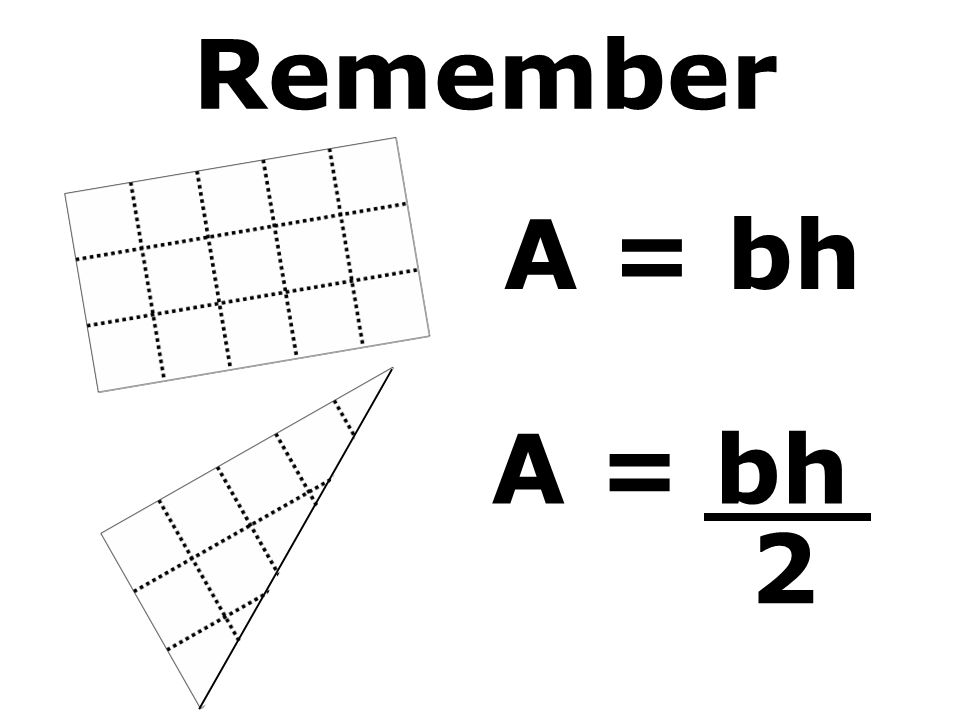 Remember A = bh 2