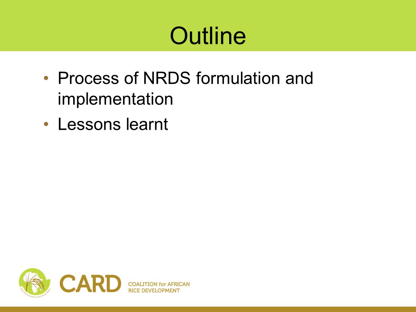 Outline Process of NRDS formulation and implementation Lessons learnt