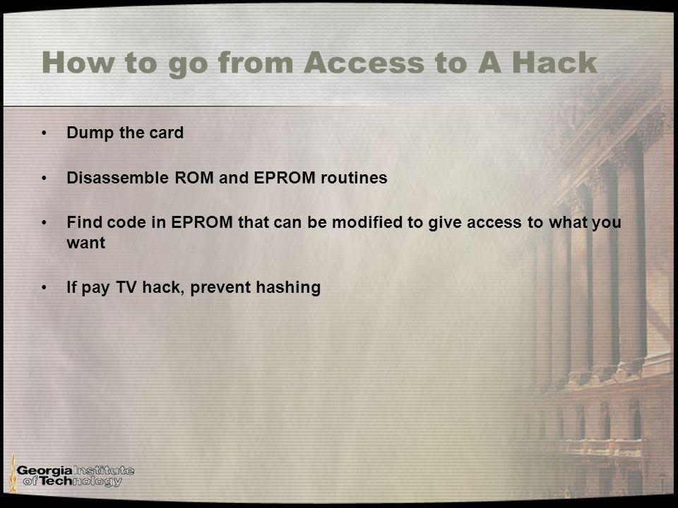 Pay TV Hacks Two types Activation -cloning your neighbors card to watch TV for free 3Ms -one for all and all for one -modify code in the EPROM to enable all channels