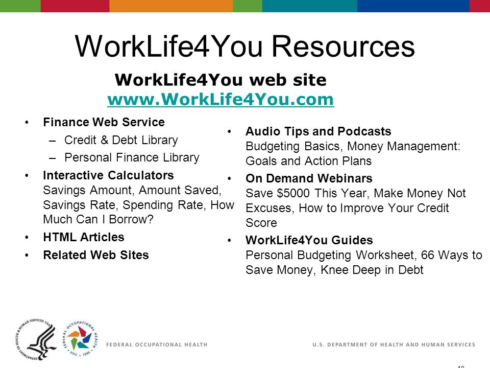 18 06/29/2007 2:30pmeSlide - P4065 - WorkLife4You WorkLife4You Resources Finance Web Service –Credit & Debt Library –Personal Finance Library Interact
