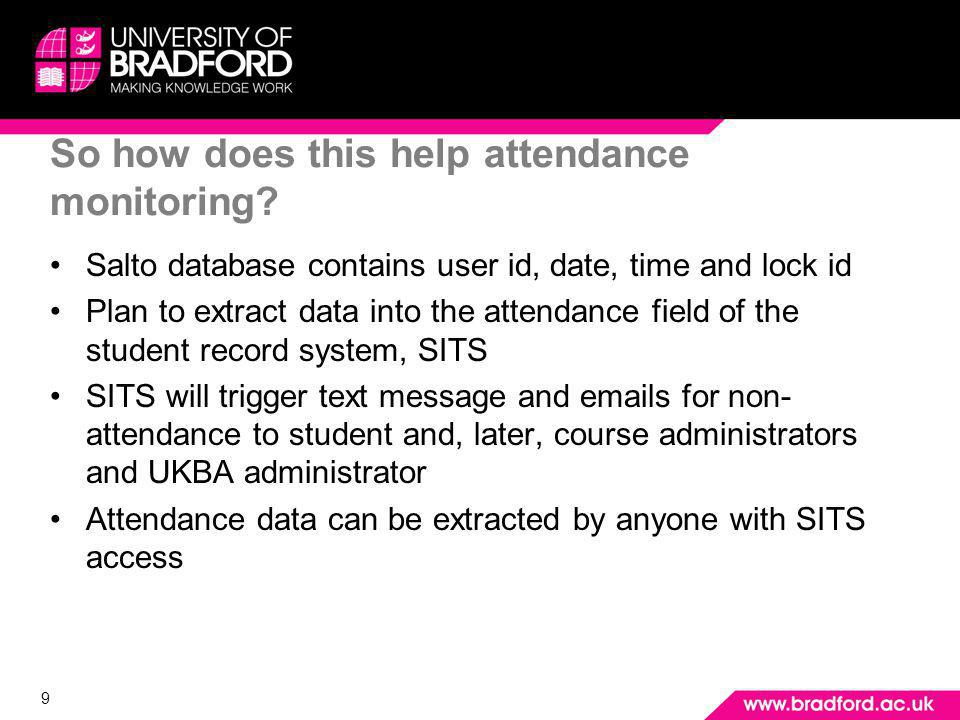 9 So how does this help attendance monitoring.
