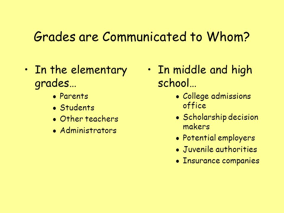 Grades are Communicated to Whom? In the elementary grades… Parents Students Other teachers Administrators In middle and high school… College admission