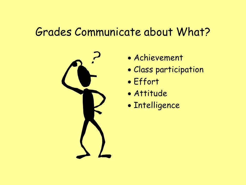 Grades Communicate about What Achievement Class participation Effort Attitude Intelligence