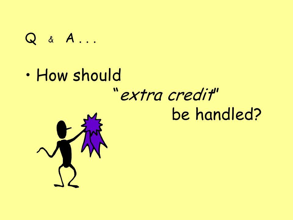 Q & A... How shouldextra credit be handled?