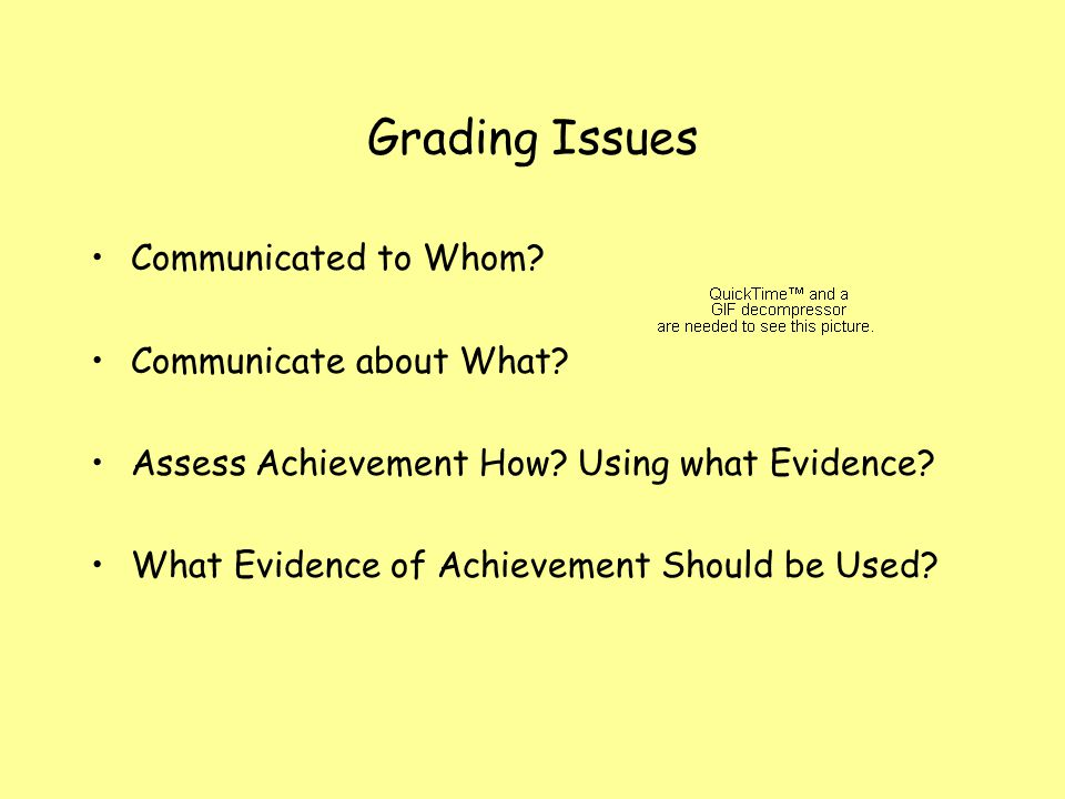 Grading Issues Communicated to Whom? Communicate about What? Assess Achievement How? Using what Evidence? What Evidence of Achievement Should be Used?