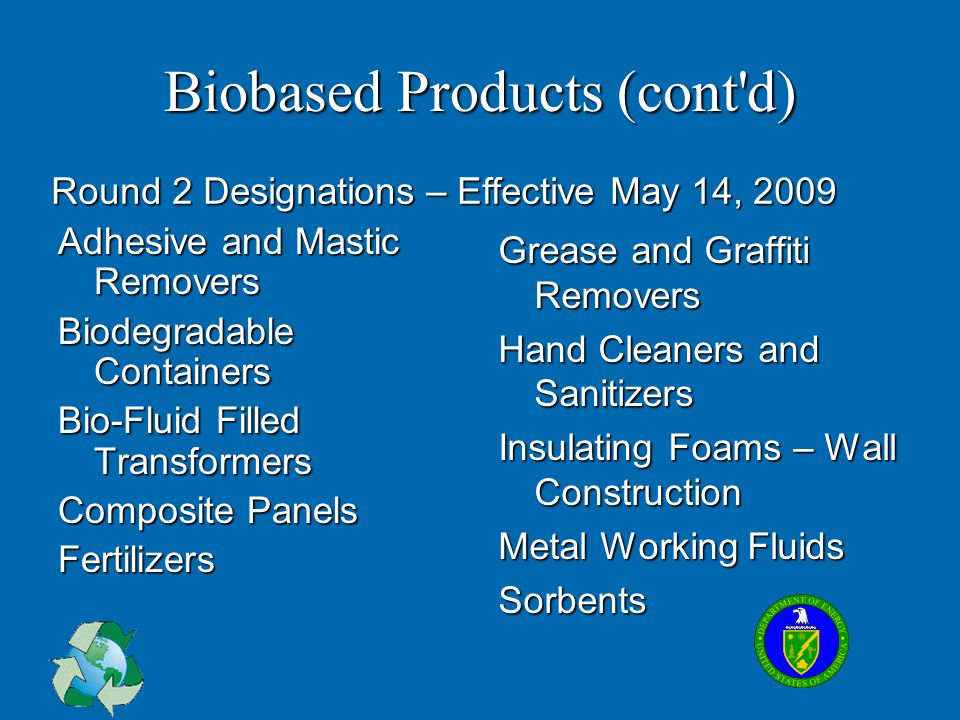 Biobased Products (cont'd) Adhesive and Mastic Removers Biodegradable Containers Bio-Fluid Filled Transformers Composite Panels Fertilizers Grease and