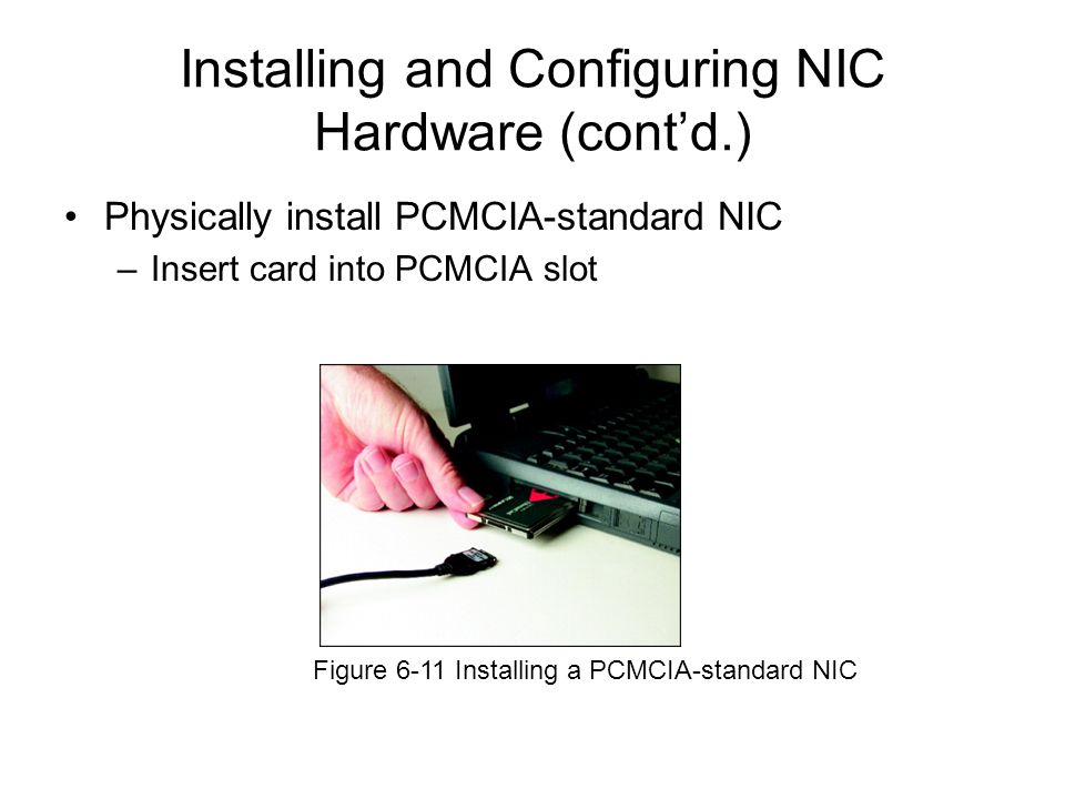 Physically install PCMCIA-standard NIC –Insert card into PCMCIA slot Figure 6-11 Installing a PCMCIA-standard NIC Installing and Configuring NIC Hardw