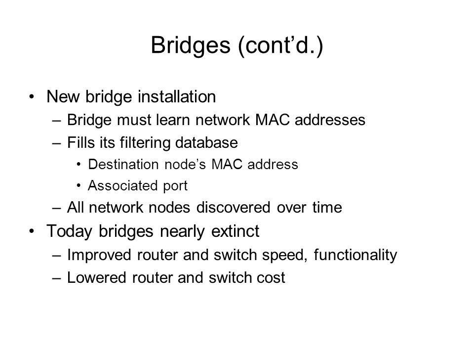 Bridges (contd.) New bridge installation –Bridge must learn network MAC addresses –Fills its filtering database Destination nodes MAC address Associat