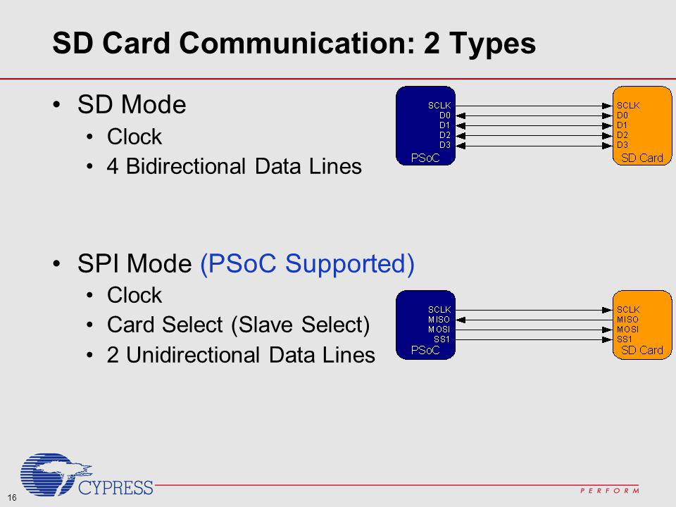 16 SD Card Communication: 2 Types SD Mode Clock 4 Bidirectional Data Lines SPI Mode (PSoC Supported) Clock Card Select (Slave Select) 2 Unidirectional