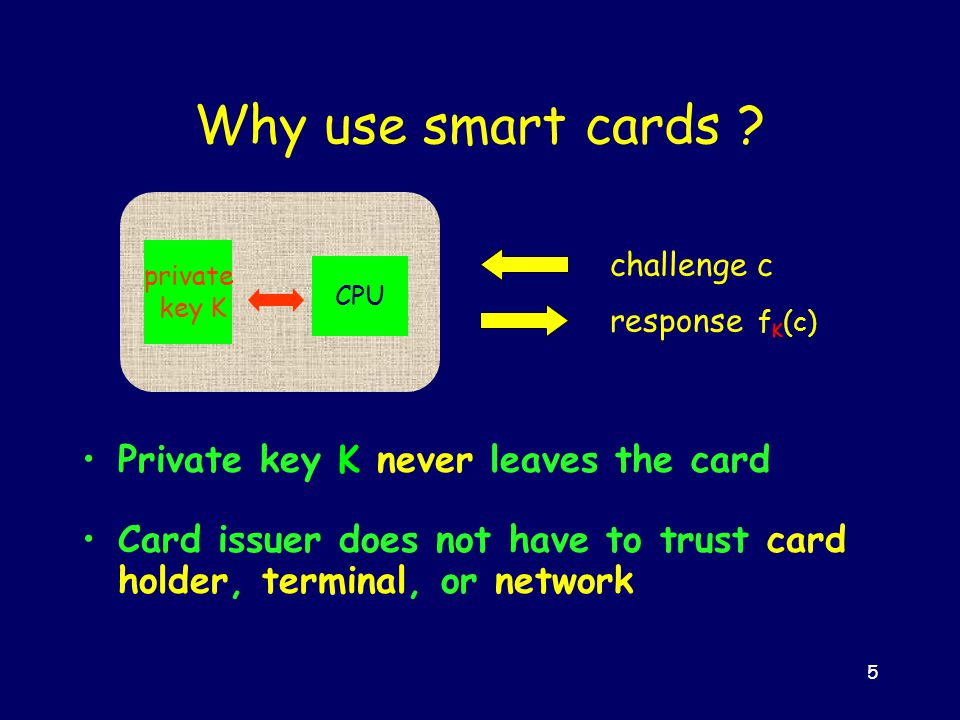 5 private key K CPU challenge c response f K (c) Why use smart cards .