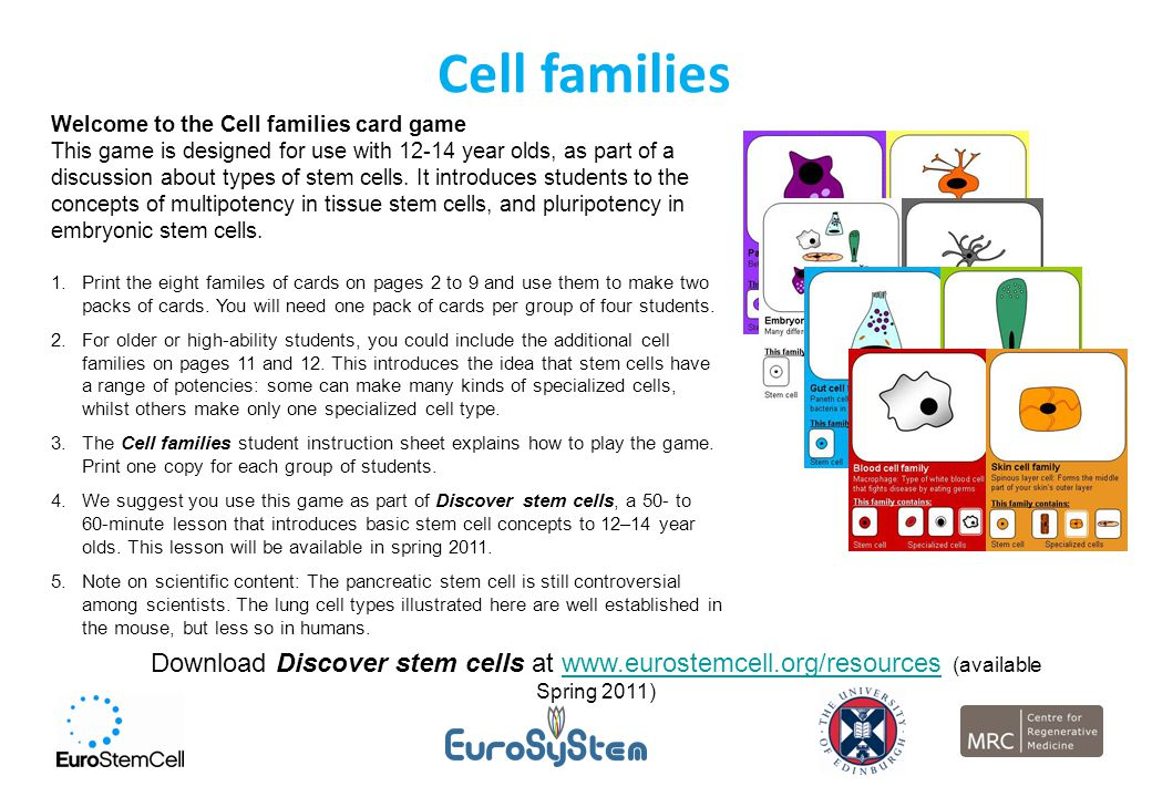 Cell families Welcome to the Cell families card game This game is designed for use with 12-14 year olds, as part of a discussion about types of stem c