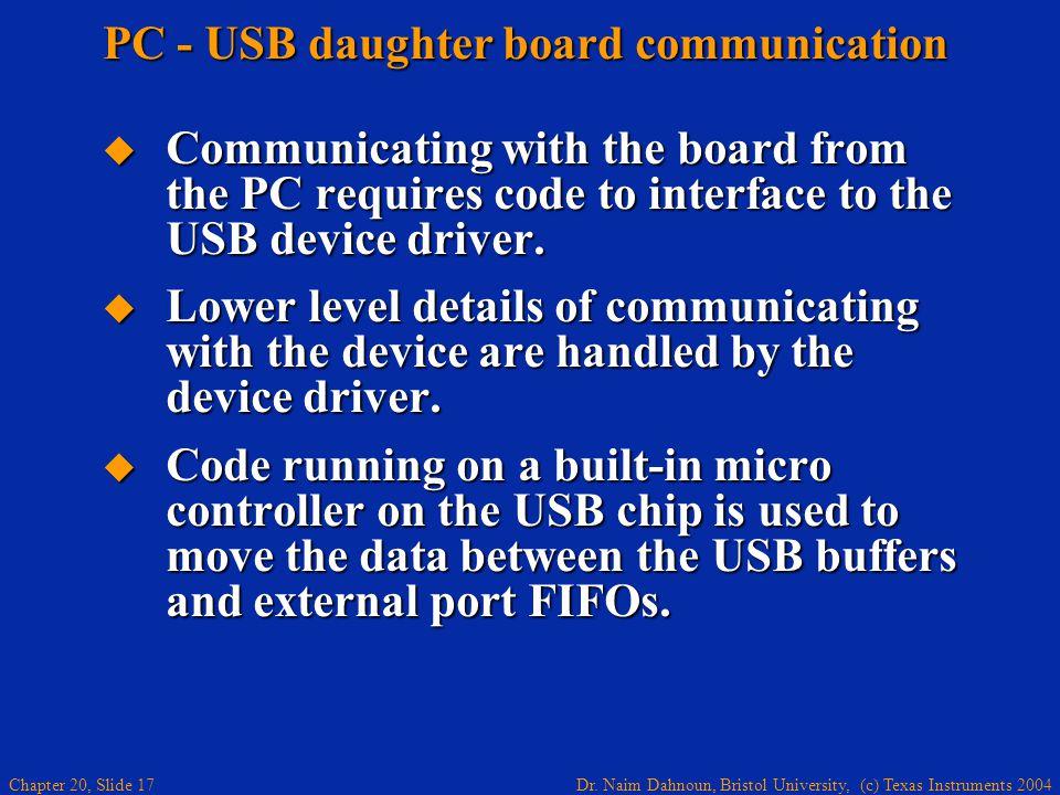 Dr. Naim Dahnoun, Bristol University, (c) Texas Instruments 2004 Chapter 20, Slide 17 PC - USB daughter board communication Communicating with the boa