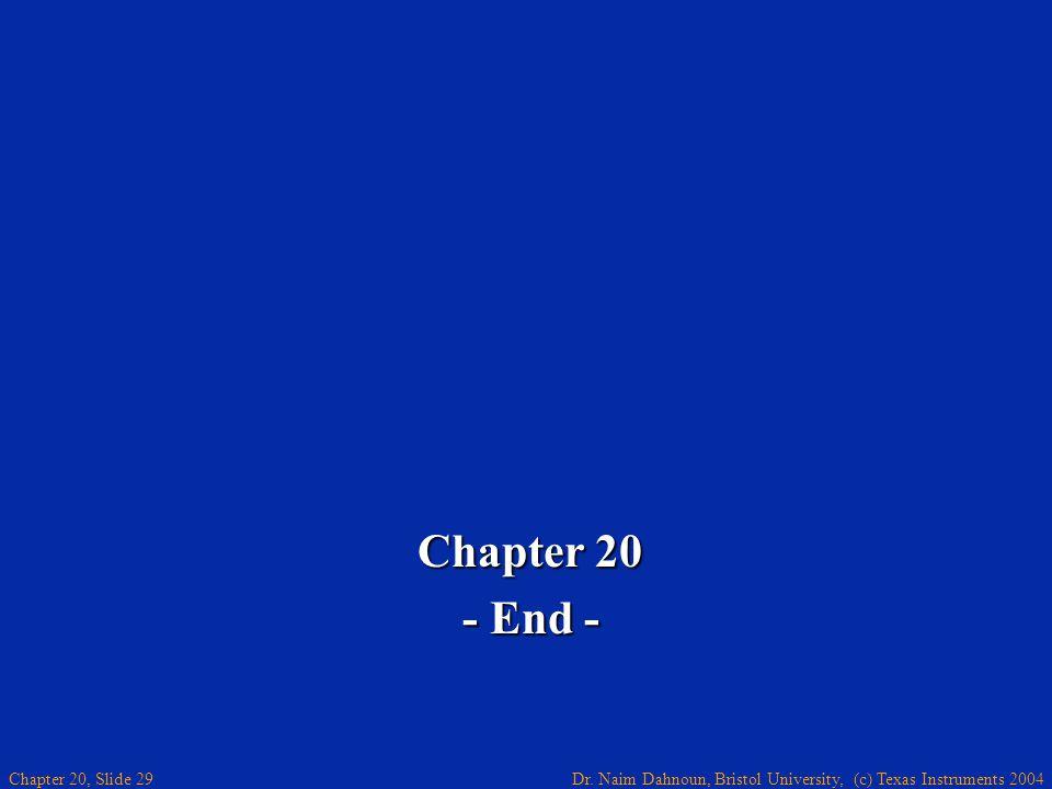 Dr. Naim Dahnoun, Bristol University, (c) Texas Instruments 2004 Chapter 20, Slide 29 Chapter 20 - End -