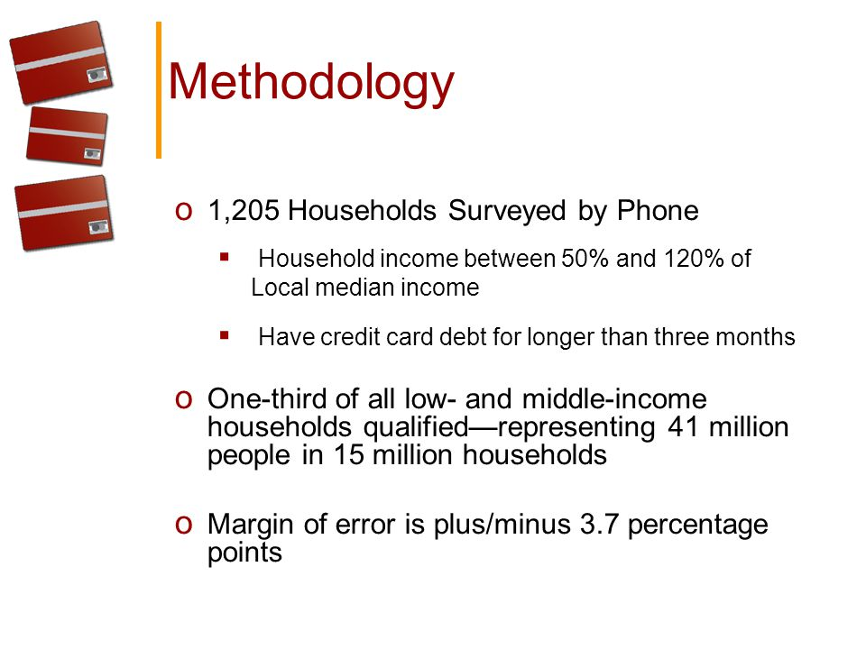 Methodology o 1,205 Households Surveyed by Phone Household income between 50% and 120% of Local median income Have credit card debt for longer than three months o One-third of all low- and middle-income households qualifiedrepresenting 41 million people in 15 million households o Margin of error is plus/minus 3.7 percentage points