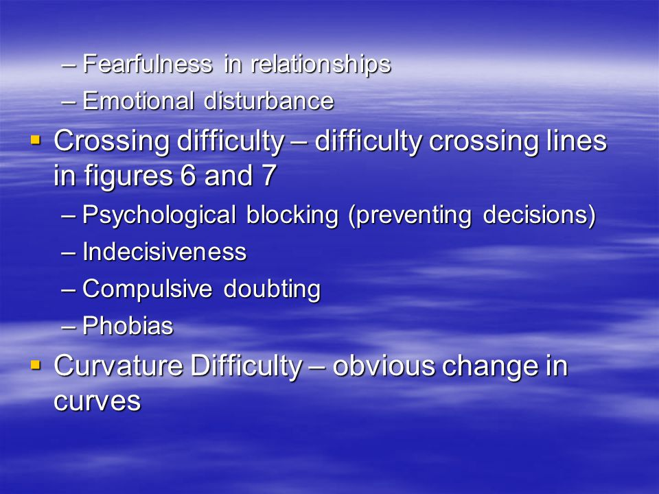 –Fearfulness in relationships –Emotional disturbance Crossing difficulty – difficulty crossing lines in figures 6 and 7 Crossing difficulty – difficul