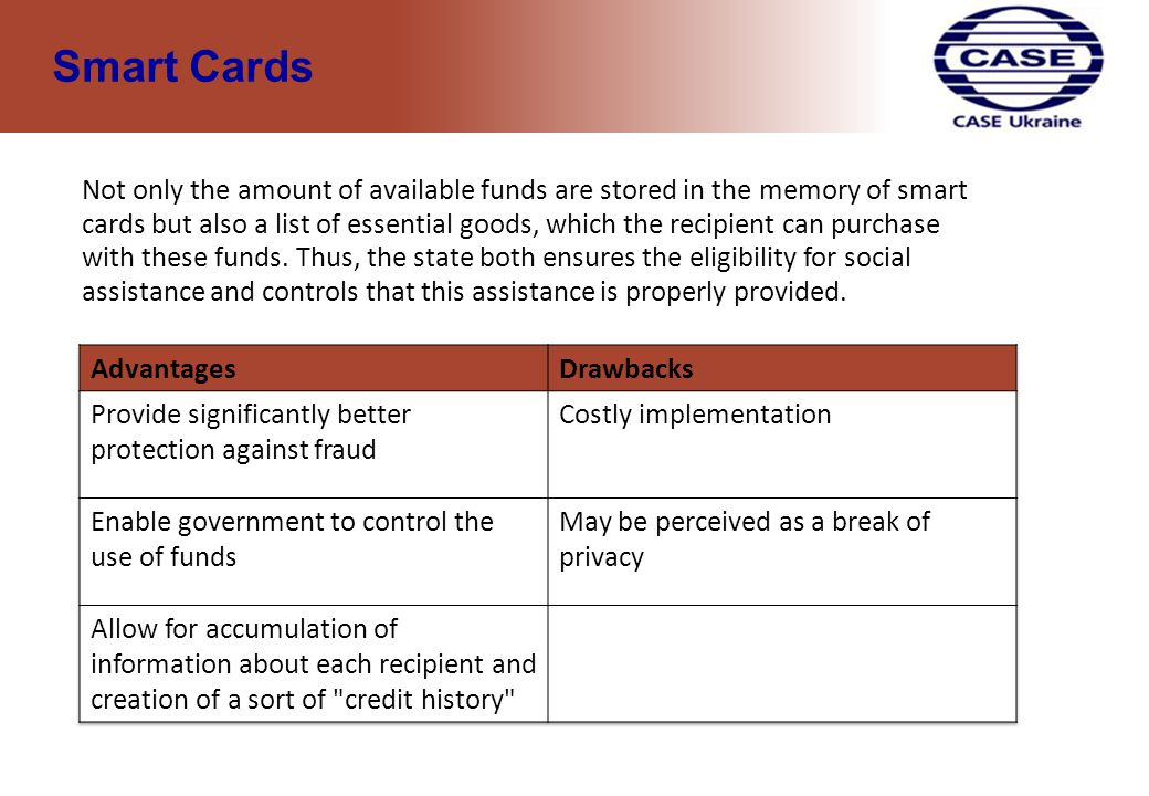 1 Example of using smart cards in the USA - WIC program.