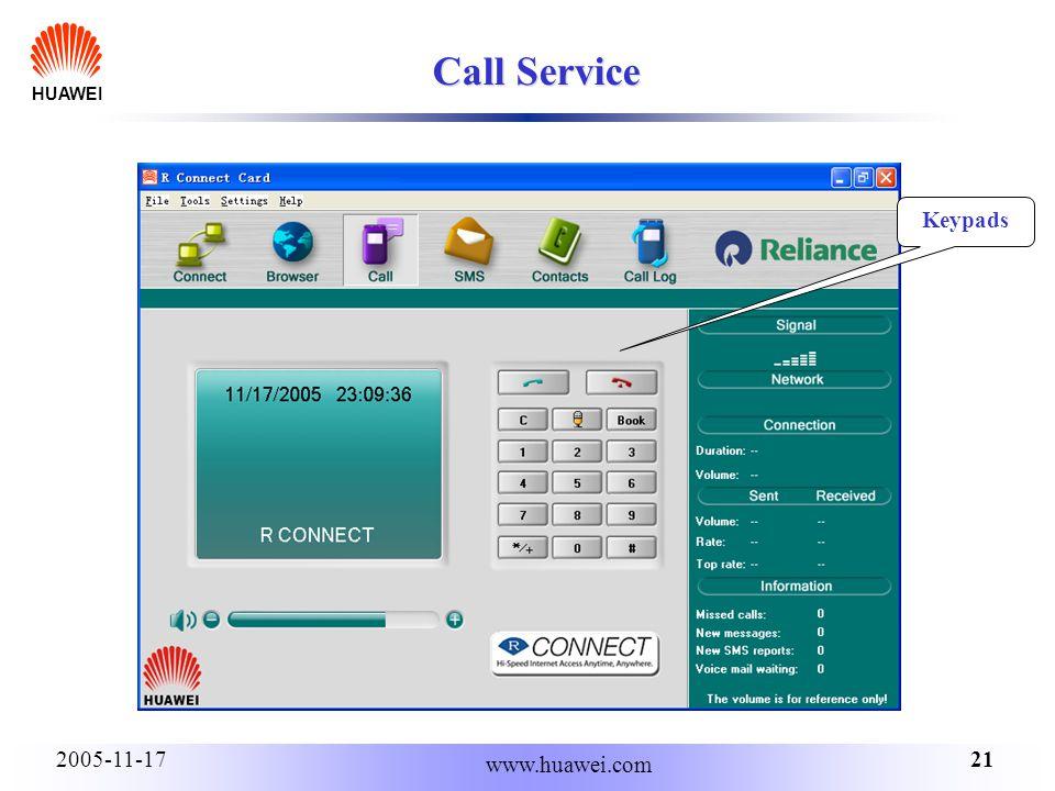 HUAWEI 212005-11-17 www.huawei.com Call Service Keypads