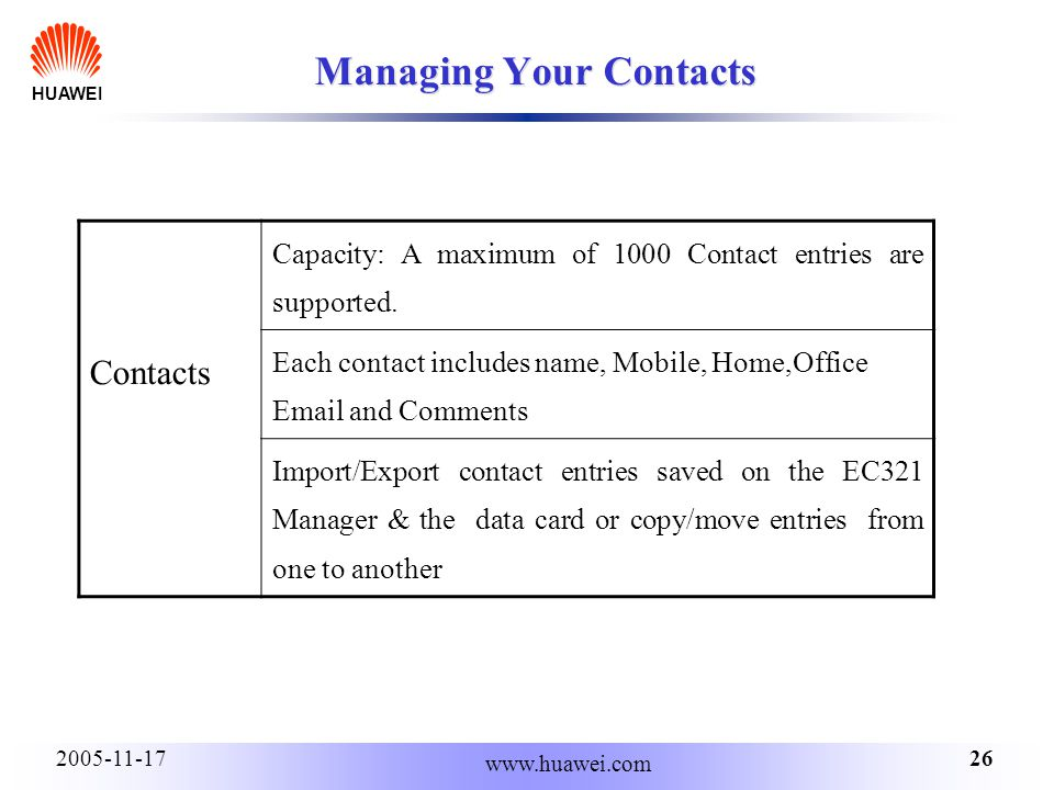 HUAWEI 262005-11-17 www.huawei.com Managing Your Contacts Contacts Capacity: A maximum of 1000 Contact entries are supported.