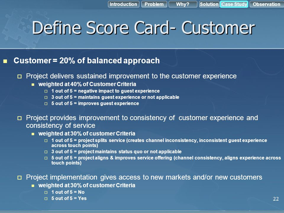 IntroductionObservation Problem Case StudyWhy?Solution Define Score Card- Customer Customer = 20% of balanced approach Project delivers sustained impr