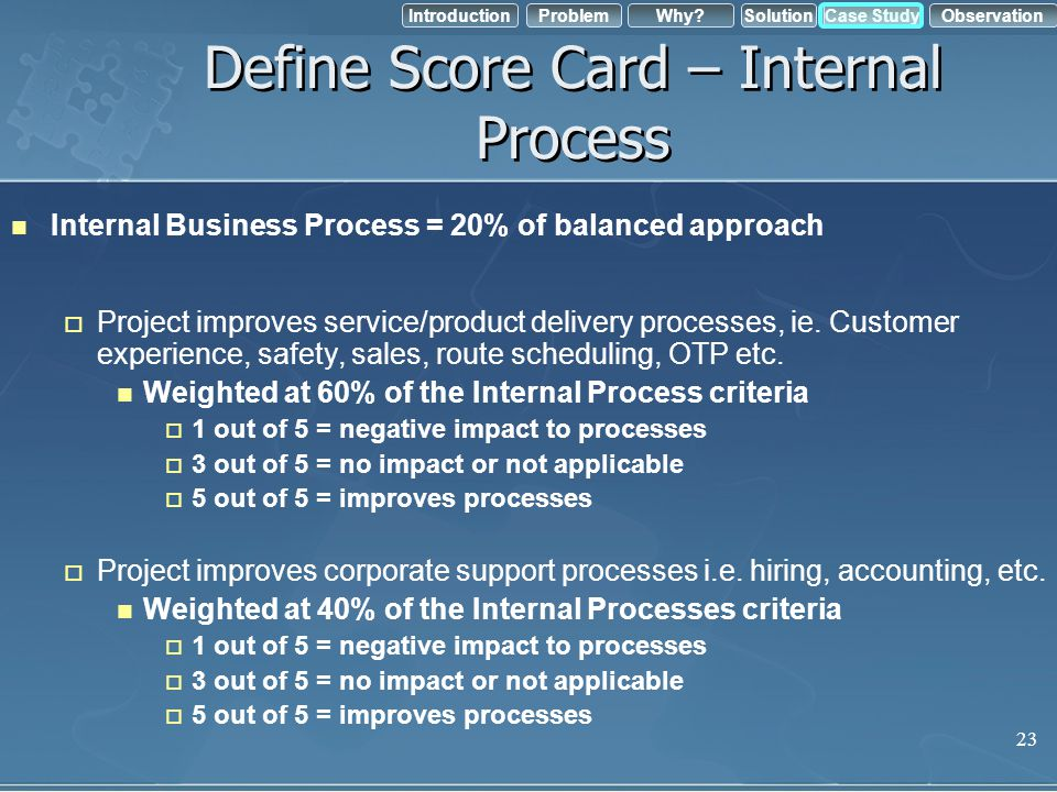 IntroductionObservation Problem Case StudyWhy?Solution Define Score Card – Internal Process Internal Business Process = 20% of balanced approach Proje