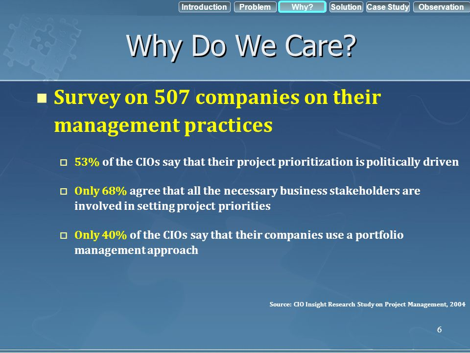 IntroductionObservation Problem Case StudyWhy?Solution 6 Why Do We Care? Survey on 507 companies on their management practices 53% of the CIOs say tha