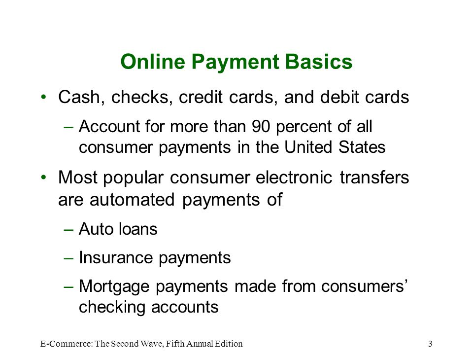 E-Commerce: The Second Wave, Fifth Annual Edition4 Payment Methods for all Types of U.S.