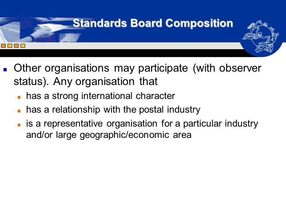 Standards Board Composition n Other organisations may participate (with observer status). Any organisation that n has a strong international character