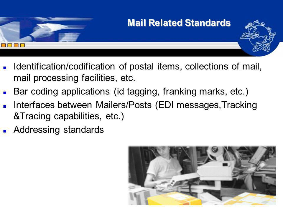 Mail Related Standards n Identification/codification of postal items, collections of mail, mail processing facilities, etc. n Bar coding applications