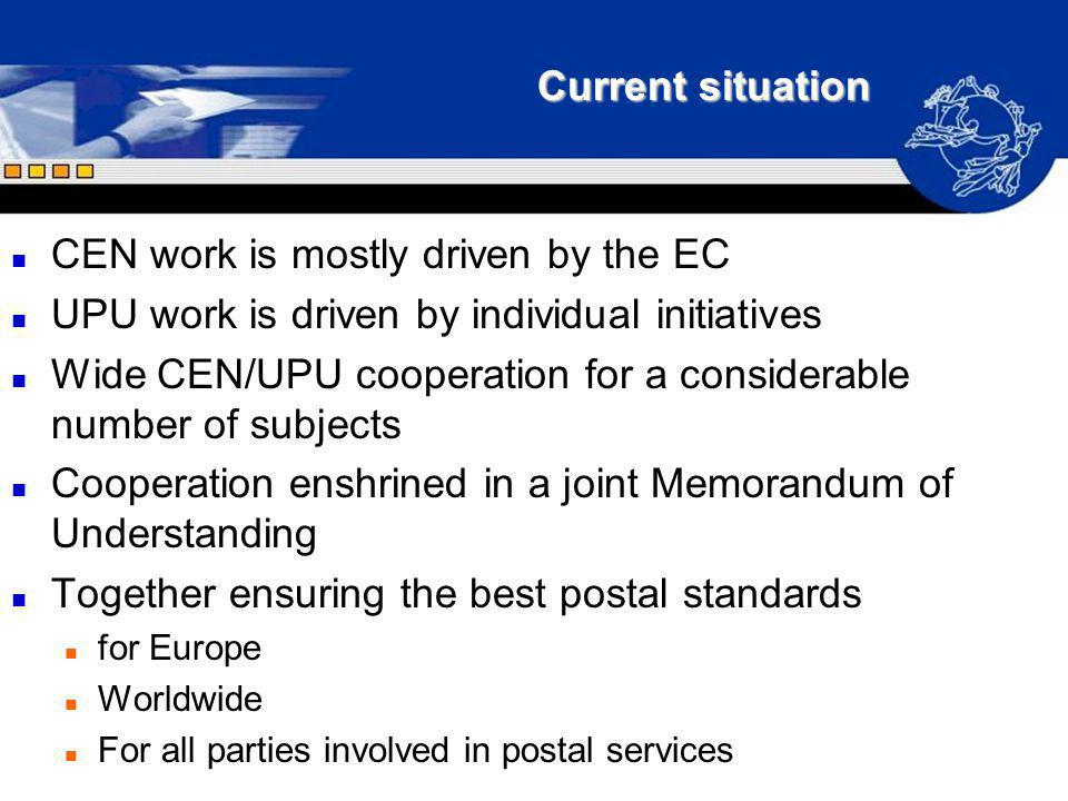 Current situation n CEN work is mostly driven by the EC n UPU work is driven by individual initiatives n Wide CEN/UPU cooperation for a considerable n