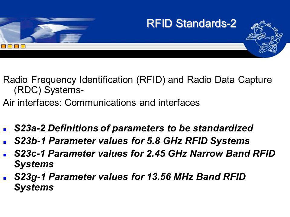 RFID Standards-2 Radio Frequency Identification (RFID) and Radio Data Capture (RDC) Systems- Air interfaces: Communications and interfaces n S23a-2 De