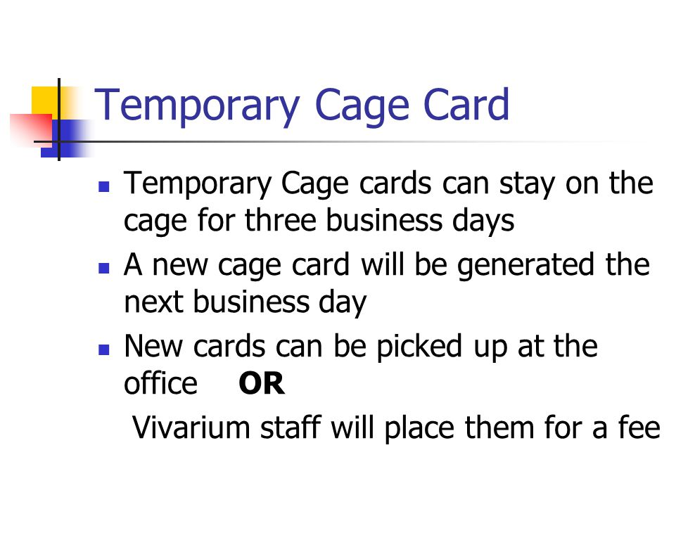 Temporary Cage Card Temporary Cage cards can stay on the cage for three business days A new cage card will be generated the next business day New cards can be picked up at the office OR Vivarium staff will place them for a fee