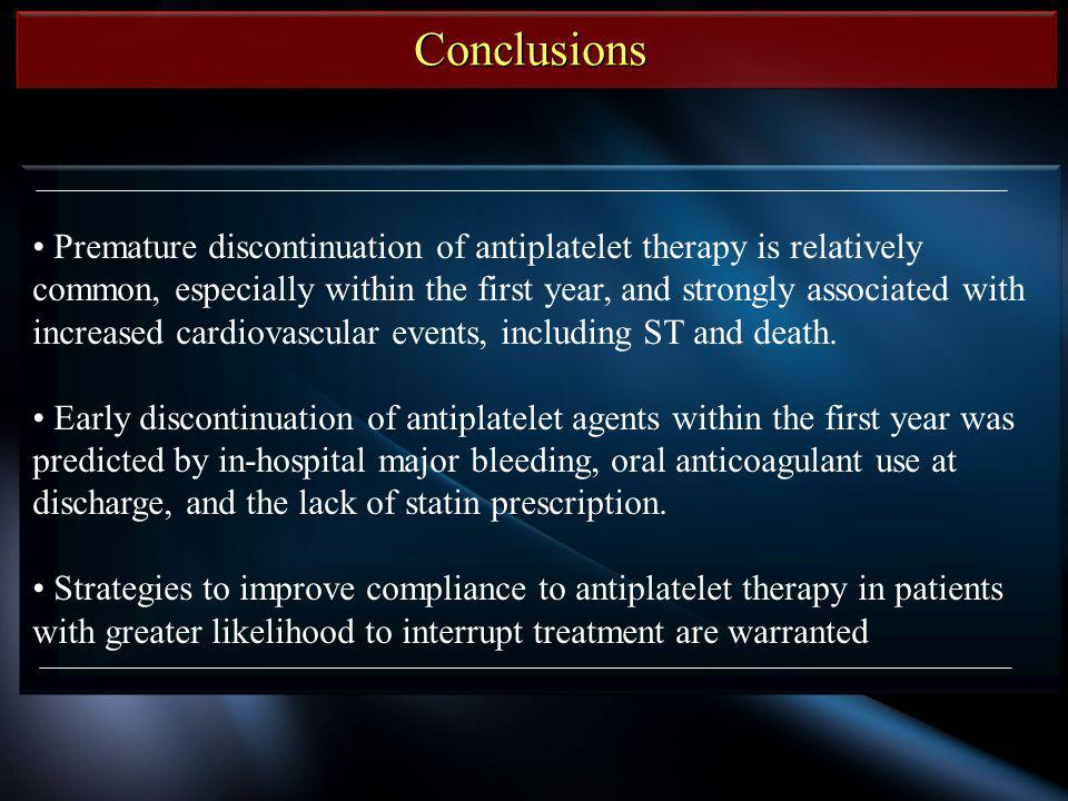 Conclusions Premature discontinuation of antiplatelet therapy is relatively common, especially within the first year, and strongly associated with inc