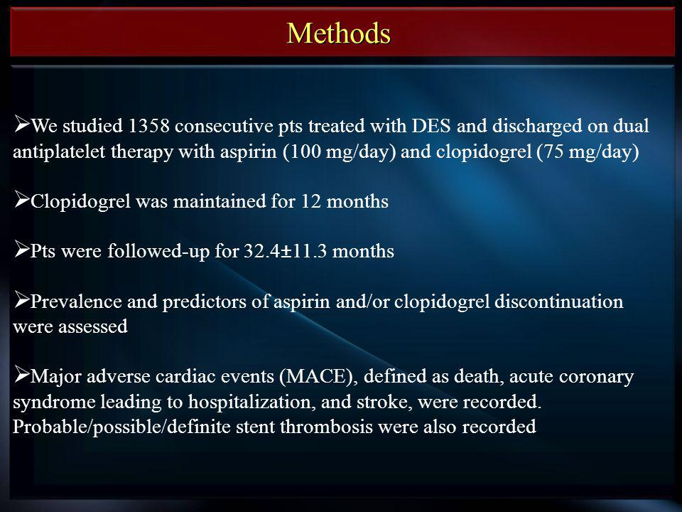 Methods We studied 1358 consecutive pts treated with DES and discharged on dual antiplatelet therapy with aspirin (100 mg/day) and clopidogrel (75 mg/day) Clopidogrel was maintained for 12 months Pts were followed-up for 32.4±11.3 months Prevalence and predictors of aspirin and/or clopidogrel discontinuation were assessed Major adverse cardiac events (MACE), defined as death, acute coronary syndrome leading to hospitalization, and stroke, were recorded.