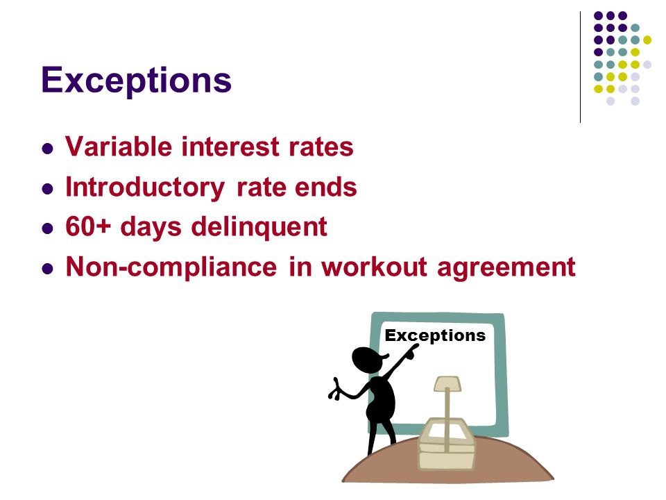 Exceptions Variable interest rates Introductory rate ends 60+ days delinquent Non-compliance in workout agreement Exceptions