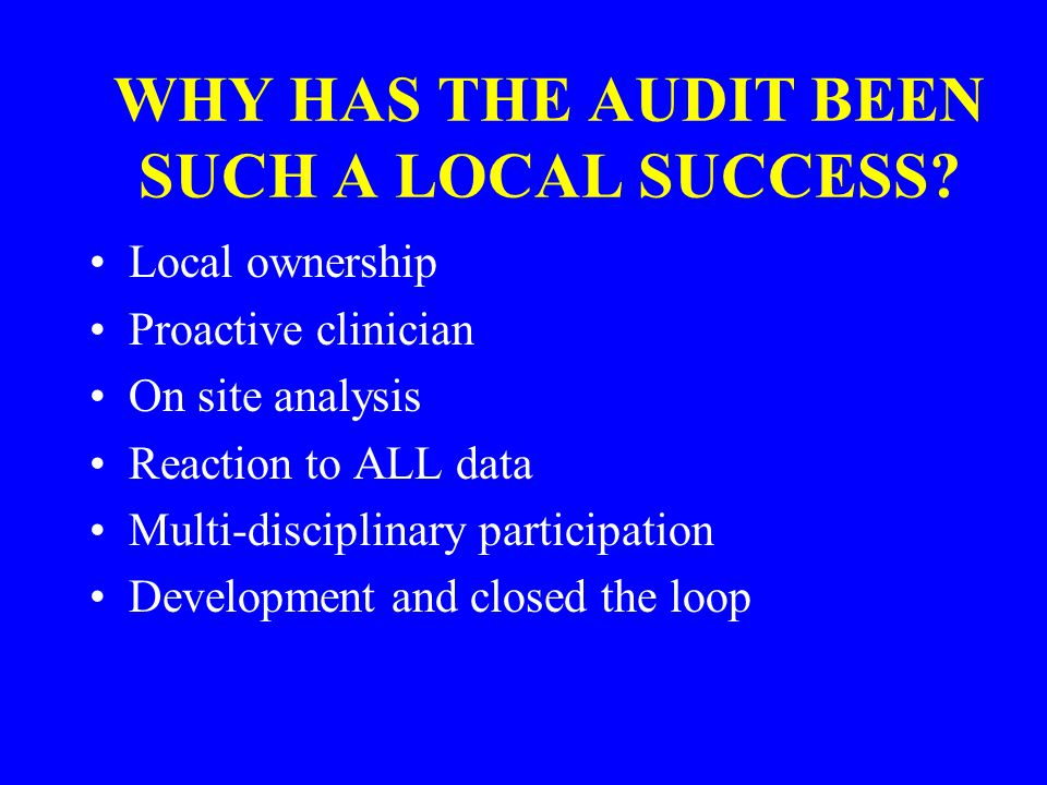 WHY HAS THE AUDIT BEEN SUCH A LOCAL SUCCESS.