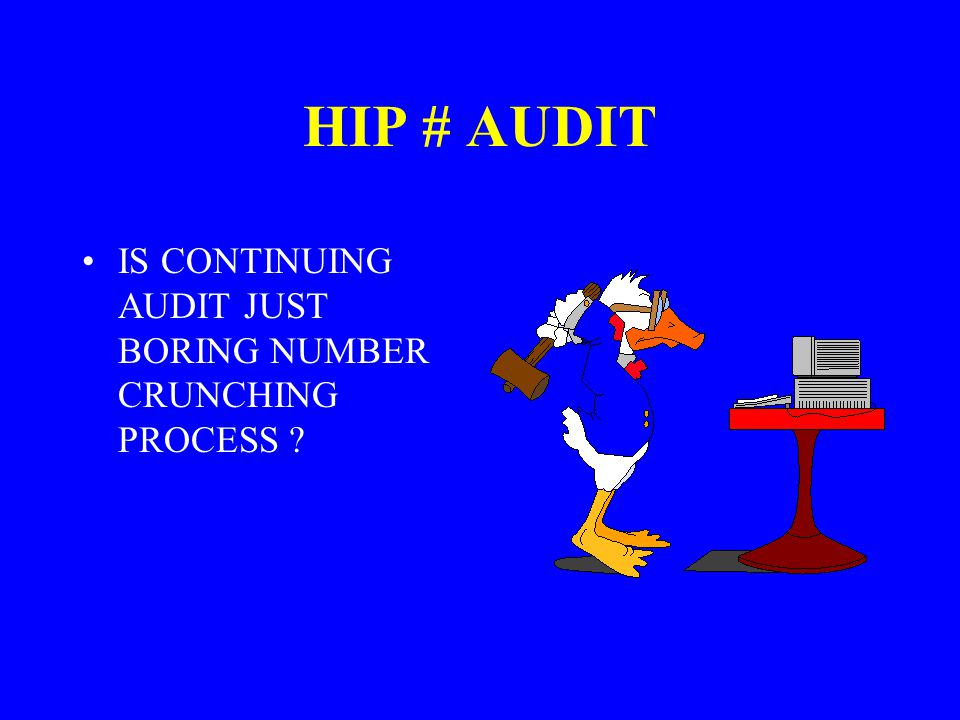 HIP # AUDIT IS CONTINUING AUDIT JUST BORING NUMBER CRUNCHING PROCESS ?