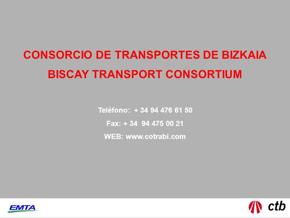 CONSORCIO DE TRANSPORTES DE BIZKAIA Teléfono: + 34 94 476 61 50 Fax: + 34 94 475 00 21 WEB: www.cotrabi.com BISCAY TRANSPORT CONSORTIUM