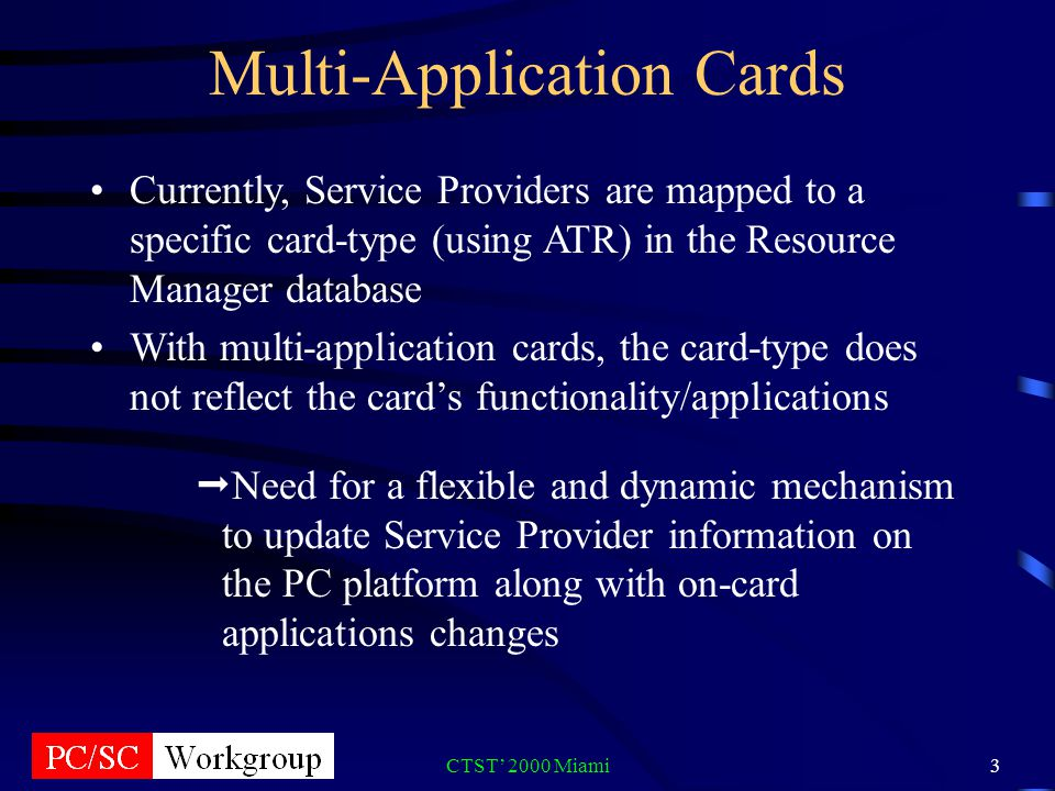 CTST 2000 Miami3 Multi-Application Cards Currently, Service Providers are mapped to a specific card-type (using ATR) in the Resource Manager database With multi-application cards, the card-type does not reflect the cards functionality/applications Need for a flexible and dynamic mechanism to update Service Provider information on the PC platform along with on-card applications changes