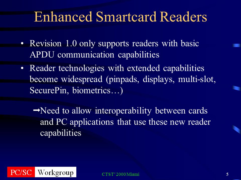 CTST 2000 Miami5 Enhanced Smartcard Readers Revision 1.0 only supports readers with basic APDU communication capabilities Reader technologies with extended capabilities become widespread (pinpads, displays, multi-slot, SecurePin, biometrics…) Need to allow interoperability between cards and PC applications that use these new reader capabilities
