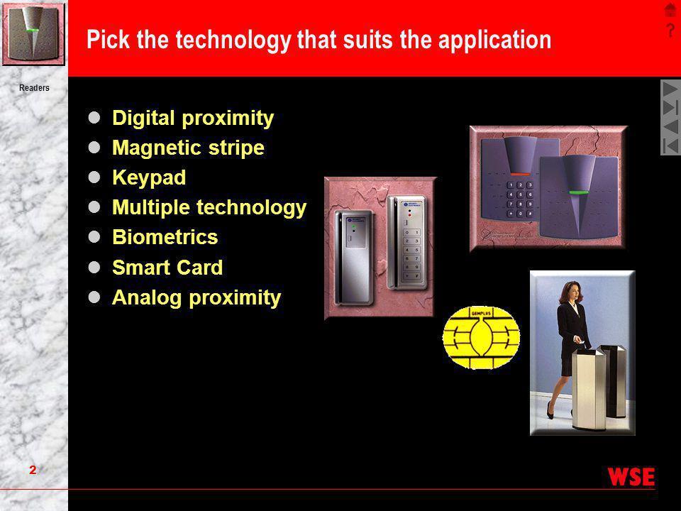 2 Readers Pick the technology that suits the application Digital proximity Magnetic stripe Keypad Multiple technology Biometrics Smart Card Analog pro