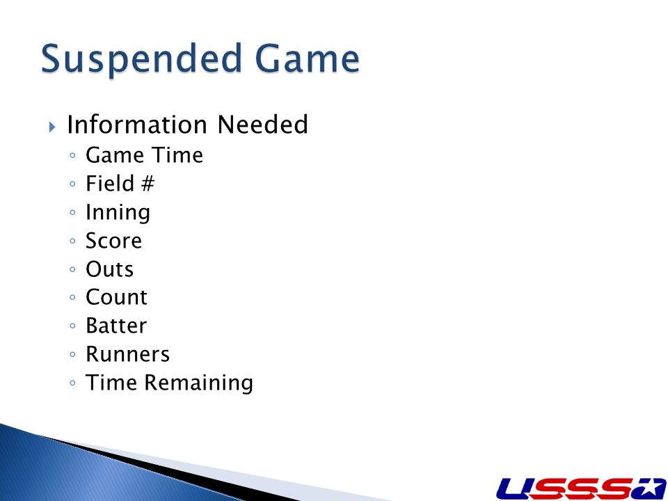Information Needed Game Time Field # Inning Score Outs Count Batter Runners Time Remaining