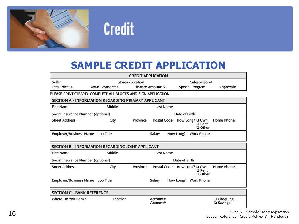 SAMPLE CREDIT APPLICATION 16 Slide 5 – Sample Credit Application Lesson Reference: Credit, Activity 3 – Handout 3