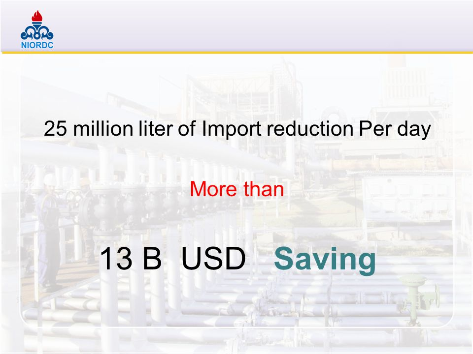 25 million liter of Import reduction Per day More than 13 B USD Saving