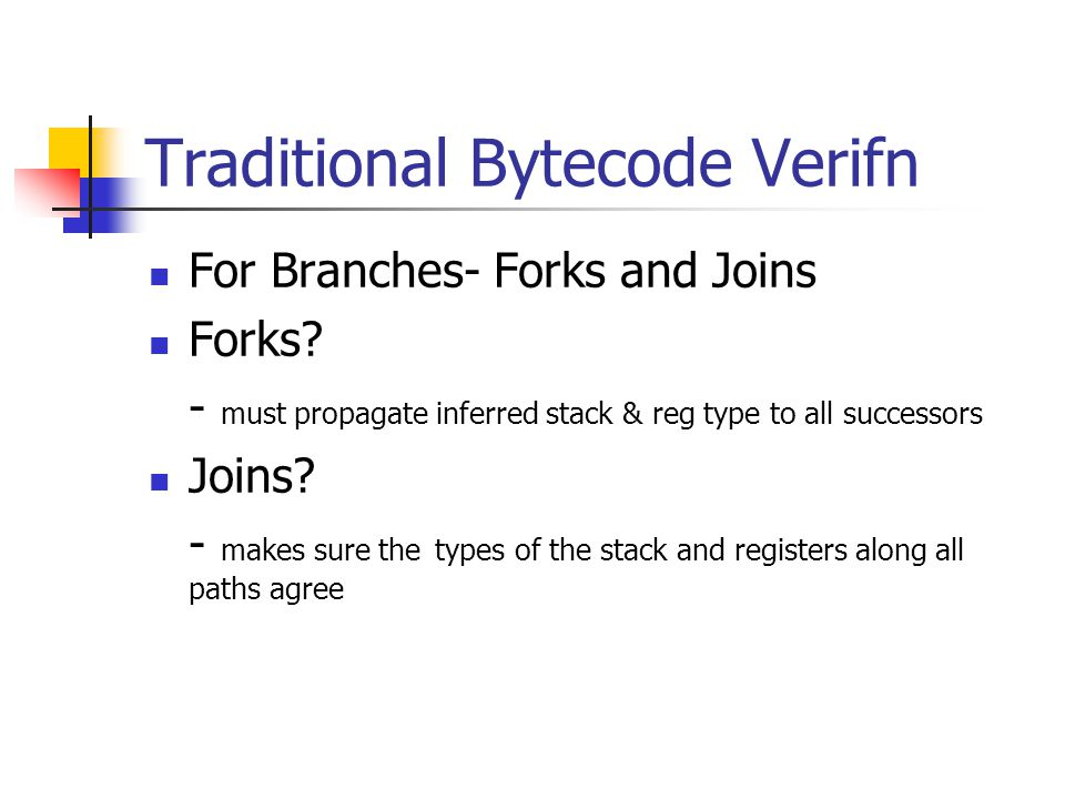 Traditional Bytecode Verifn For Branches- Forks and Joins Forks.