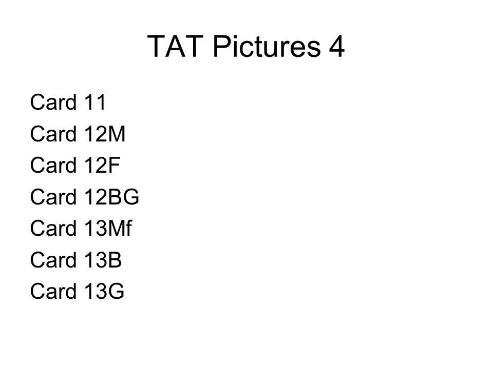 TAT Pictures 4 Card 11 Card 12M Card 12F Card 12BG Card 13Mf Card 13B Card 13G