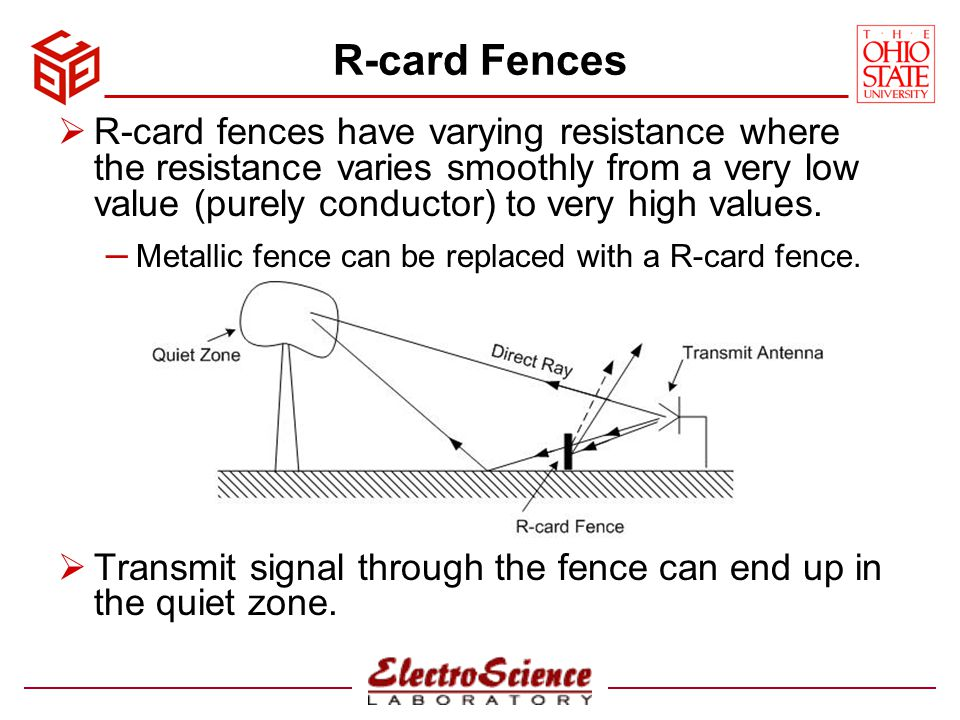 Outdoor Facility with R-card Fences Multiple R-card fences can be used to eliminate the ground bounce term in the quiet zone.
