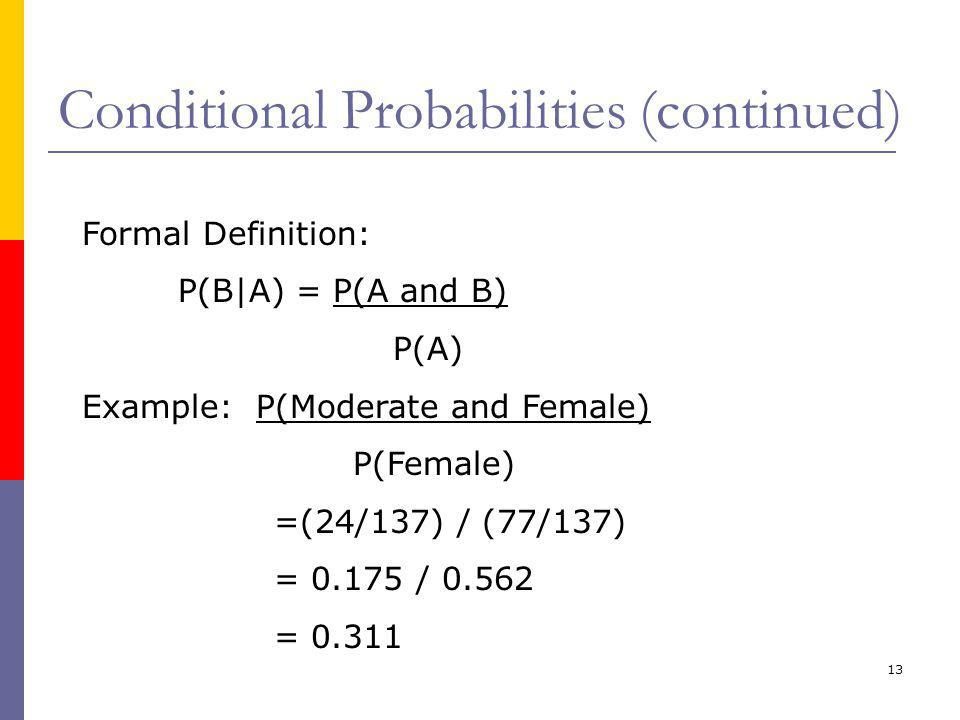 13 Conditional Probabilities (continued) Formal Definition: P(B|A) = P(A and B) P(A) Example: P(Moderate and Female) P(Female) =(24/137) / (77/137) = 0.175 / 0.562 = 0.311