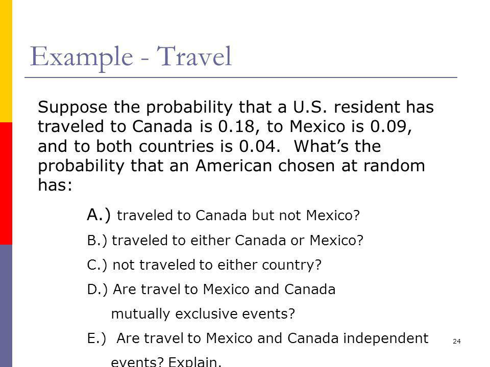 24 Example - Travel Suppose the probability that a U.S.