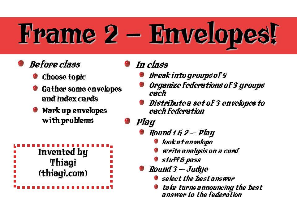 Frame 2 – Envelopes.