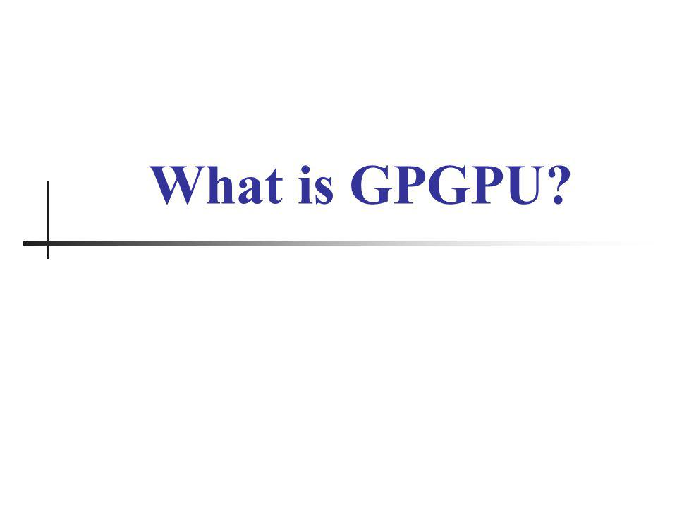 Your Logo Here Supercomputing in Plain English: GPGPU INSTITUTION, DAY MONTH DATE YEAR 24 OpenCL Example Part 2 // build the compute program executable clBuildProgram(program, 0, NULL, NULL, NULL, NULL); // create the compute kernel kernel = clCreateKernel(program, fft1D_1024 , NULL); // set the args values clSetKernelArg(kernel, 0, sizeof(cl_mem), (void *)&memobjs[0]); clSetKernelArg(kernel, 1, sizeof(cl_mem), (void *)&memobjs[1]); clSetKernelArg(kernel, 2, sizeof(float)*(local_work_size[0]+1)*16, NULL); clSetKernelArg(kernel, 3, sizeof(float)*(local_work_size[0]+1)*16, NULL); // create N-D range object with work-item dimensions and execute kernel global_work_size[0] = num_entries; local_work_size[0] = 64; clEnqueueNDRangeKernel(queue, kernel, 1, NULL, global_work_size, local_work_size, 0, NULL, NULL);
